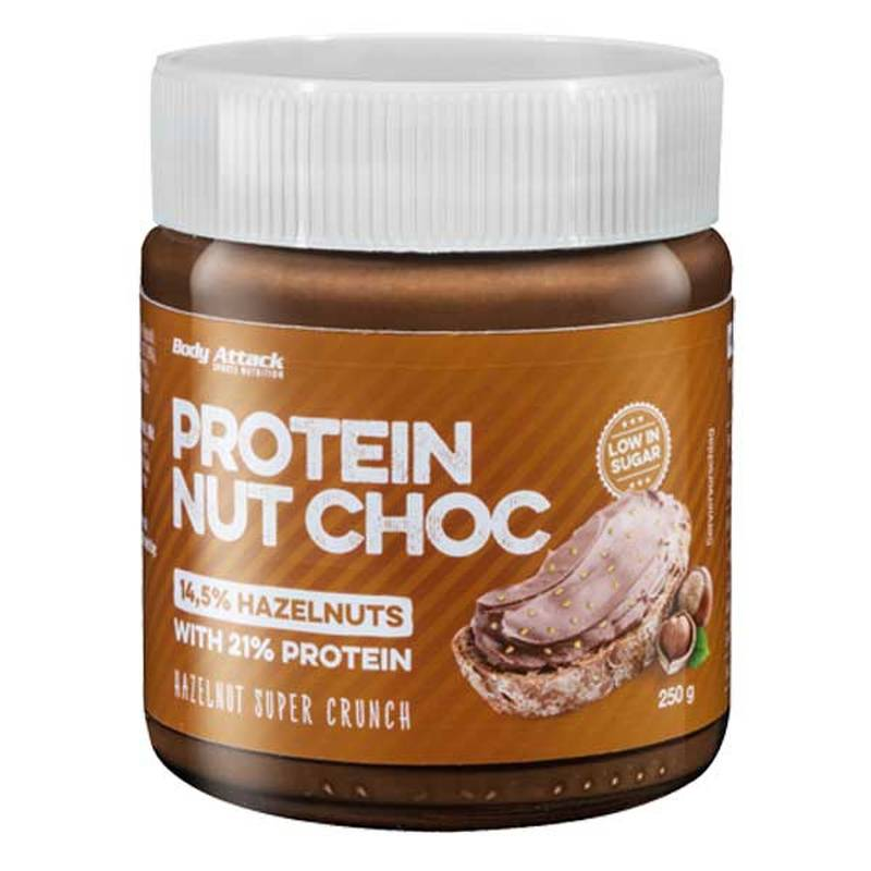 Body Attack Protein Nut Choc, Hazelnut Super Cruch, 250g